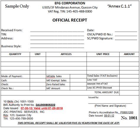 11 sample official receipt three blocks