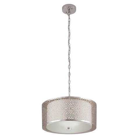 Shop Portfolio Eyerly 17 3 In Chrome Single Drum Pendant Drum Shade Pendant Light Lowes