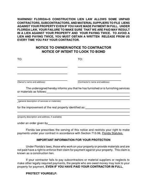 notice of lien letter template 10 best images of notice to sue form notice of intent to