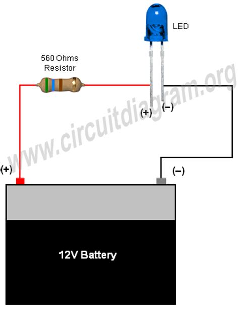 resistor for led on 12v simple led circuit with resistor and battery also 6 ohm resistor led 12v led resistor lighting