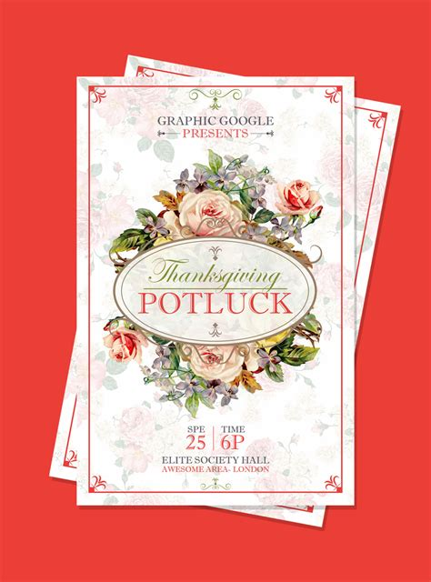 free templates for potluck flyers free potluck thanksgiving flyer template design psd