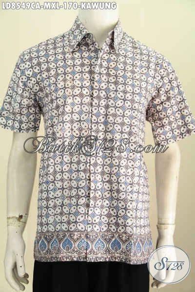 Baju Kerja Baju Jawa Basofi Rapih Banget model baju batik pria slimfit lengan pendek halus motif kawung pakaian batik proses cap warna
