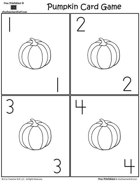 printable pumpkin number cards pumpkin card game a to z teacher stuff printable pages