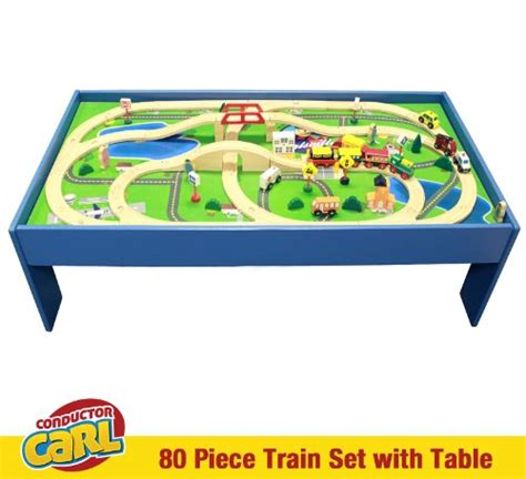 brio play table and train set conductor carl 80 piece train table and playboard set 100