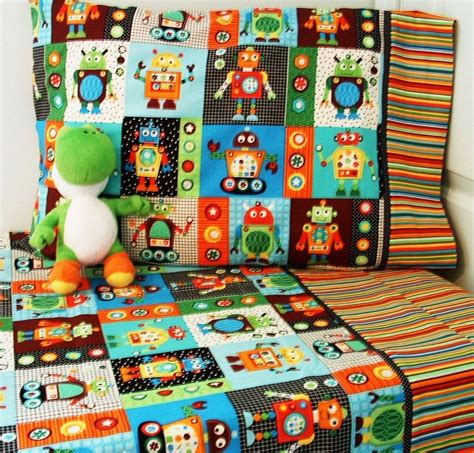 robot toddler bedding crib sheet set 3 pc robot nursry