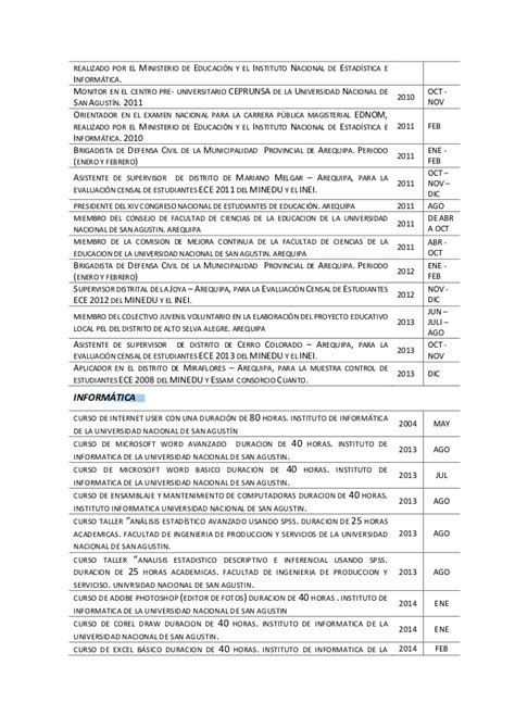 Modelo Curriculum Vitae Descriptivo Modelo De Curriculum Vitae Docente Modelo De Curriculum Vitae