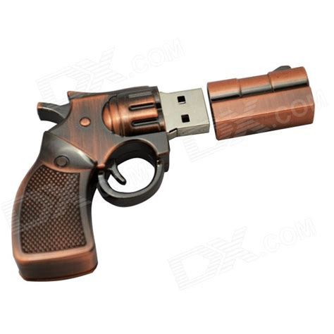 Flashdisk Pistol Usb 8 Gb revolver pistol shaped usb 2 0 flash disk copper