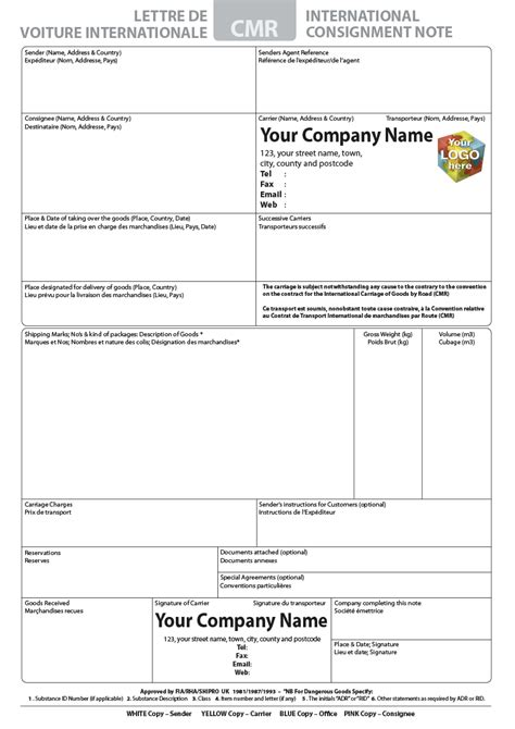 cmr template cmr consignment note pads printed from 163 100 with free cmr
