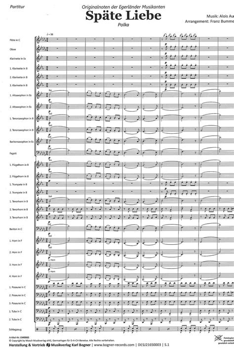 Späte Liebe | Noten - Polkas | Alois Aust | Arr. Franz Bummerl