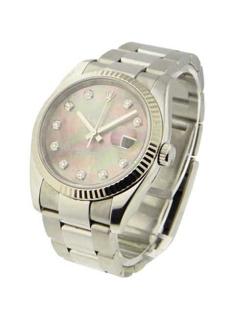 Rolex Date Just Wg For 116234 black mop used rolex datejust 36mm steel with