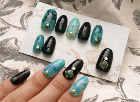 turquoise nails marble black oval nail gel nail