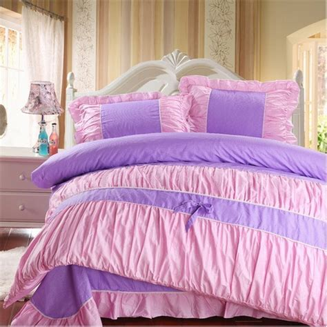 Pink And Purple Bedding Sets Purple Pink Polka Dot Bedding Comforter Sets100 Cotton King Size 4pc Sweet Bow