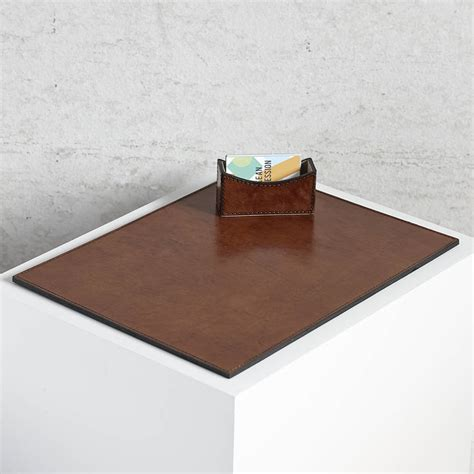 personalised leather desk mat by of