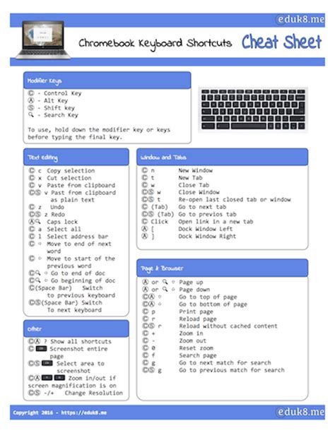chrome keyboard shortcuts new freebie chromebook keyboard shortcuts cheat sheet