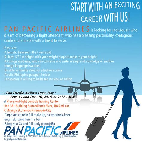 Cathay Pacific Cabin Crew Hiring Philippines by Cabin Crew Recruitment Pan Pacific Airlines Philippines