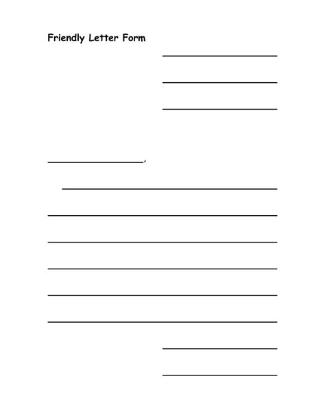 template of blank friendly letter template calendar templates