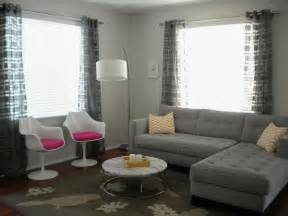 Grey Living Room Curtains Decorating Grey Geometric Square Curtains In A Living Room Ideas