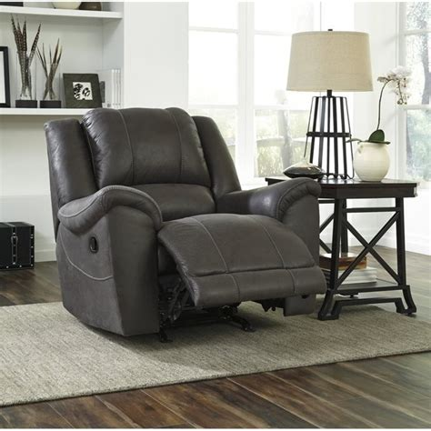 Grey Leather Rocker Recliner Niarobi Faux Leather Rocker Recliner In Gray 4060025