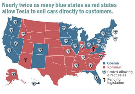 Tesla Sales By State Map Of Where Tesla Can Sell Cars Looks Remarkably Similar