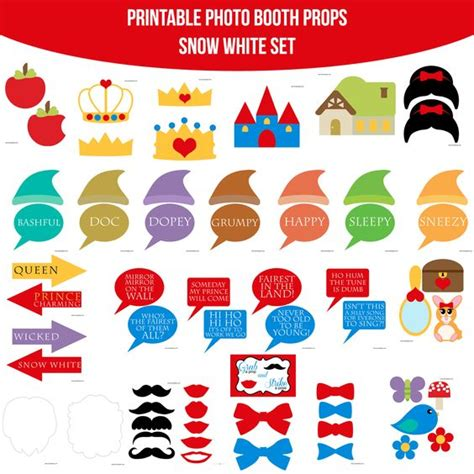 farm photo booth props diy instant download by instant download snow white printable photo booth prop set