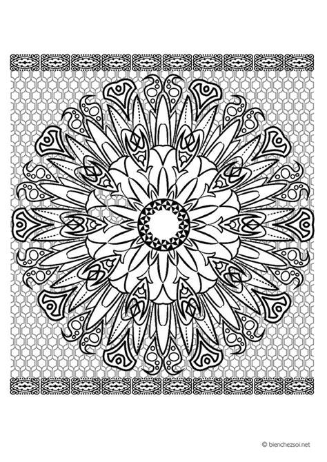 Coloriage mandala soleil, dessin anti-stress gratuit pour