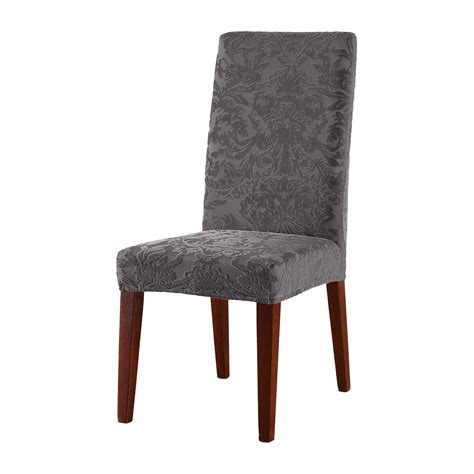 damask dining room chairs stretch jacquard damask short dining room chair cover