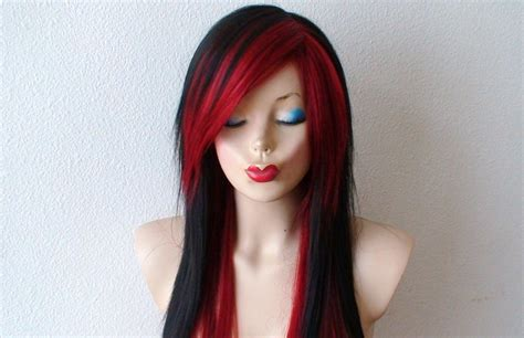 emo hairstyles wigs scene wig black wine red scene hairstyle wig emo by