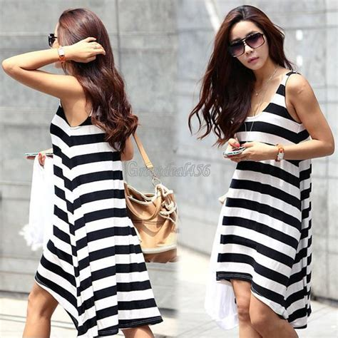 Dress Korea Stripe Import Casual womens boho bohemian neck stripes summer