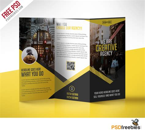 Multipurpose Trifold Business Brochure Free Psd Template Psdfreebies Com Free Brochure Templates