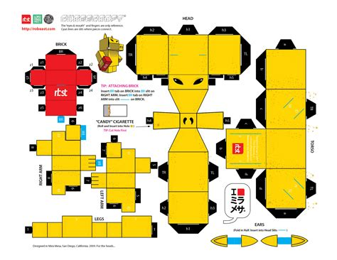 Papercraft Gratis - papercraft rbst x cubeecraft quasimoto lord on a sheet