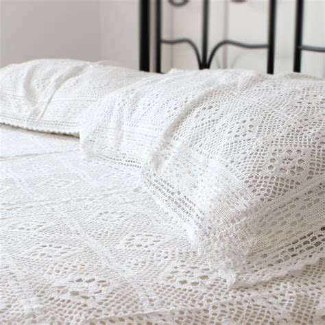 Handmade Bedspreads - white handmade cotton crochet bedspread bedding set