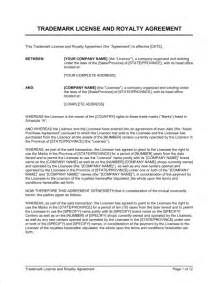 royalty contract template trademark license and royalty agreement template