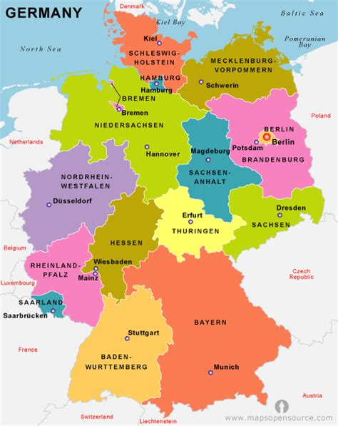 germany map political free germany political map political map of germany
