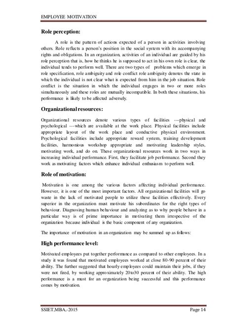 Employee Motivation Project For Mba by Employee Motivation Total Project