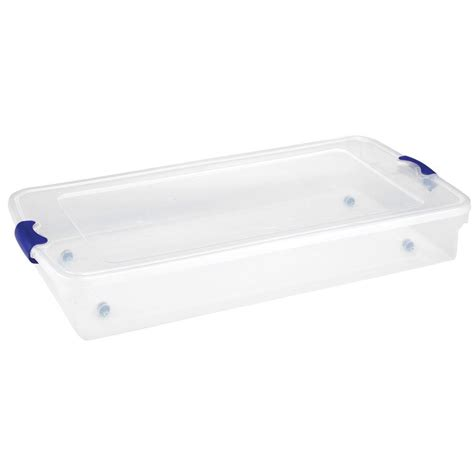 home depot under bed storage homz 60 qt underbed latching storage tote in clear set of 4 3470clbl 04 the home