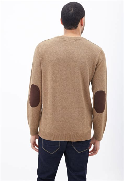 forever 21 faux suede patch sweater in brown for lyst