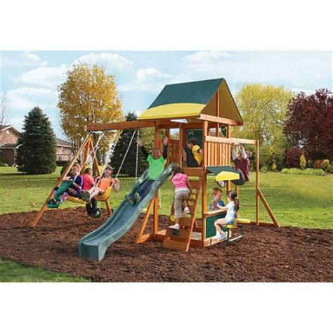 swing sets at walmart cedar summit brookridge cedar wooden swing set walmart com