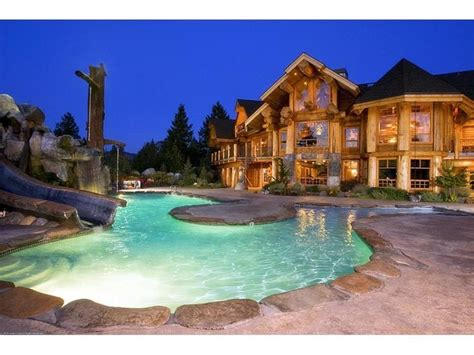 dream house a pool in the front of the house is a bit cabin dream homes log cabin dream home ideas
