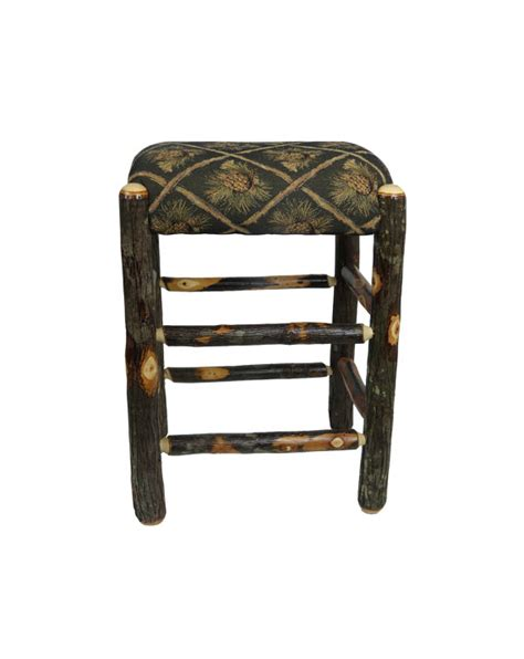rustic hickory bar stools 24 inch rustic hickory upholstered bar stool backless with