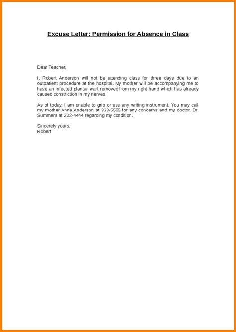 Sle Absence Excuse Letter For Missing School For Vacation Excuse Letter For Missing School Excuse Letter Format Format Of Excuse Letter Best Template