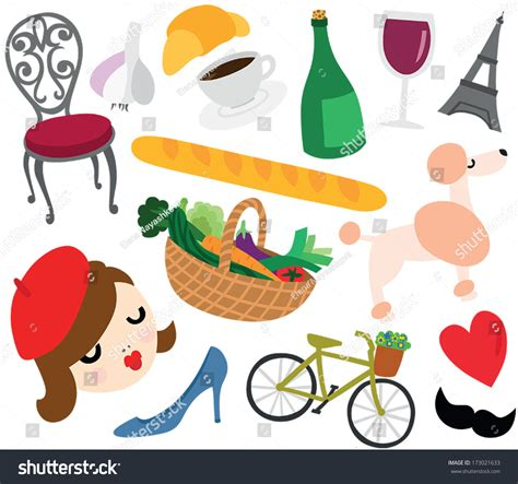 Typical French Things Set Stock Vector 173021633   Shutterstock