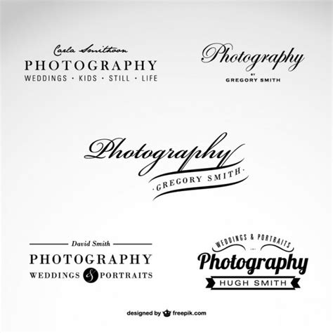 photography business logo set vector free download
