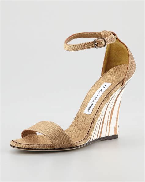 manolo blahnik sandals manolo blahnik izione ankle wedge sandal in metallic