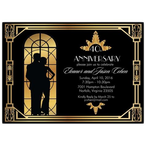 gatsby romance anniversary party invitations paperstyle