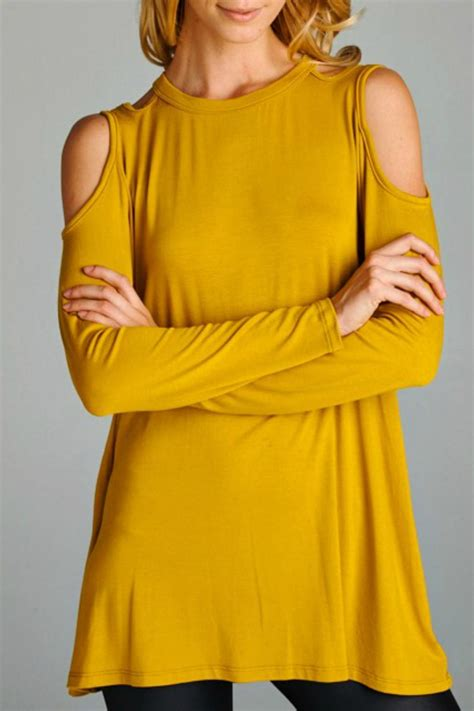 Top Mustard cherish cold shoulder mustard top from south carolina by styled boutique shoptiques