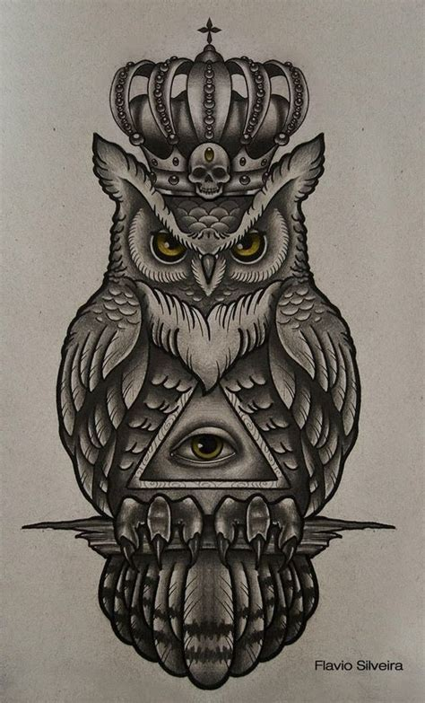 design tattoo owl and owl