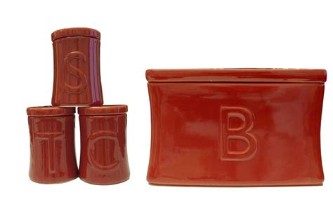 ceramic kitchen canister set red coffee tea sugar by ceramic tea coffee sugar utensil jar set bread bin in