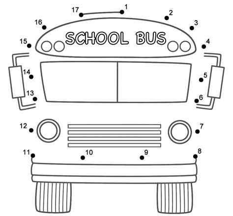 Printable School Bus Dot To Dot | school bus front connect the dots count by 1 s back