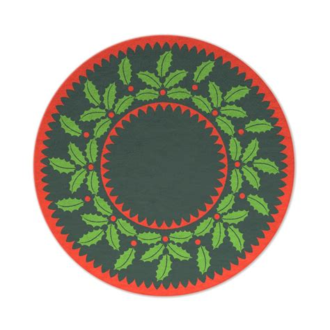 holly wreath christmas tree mat