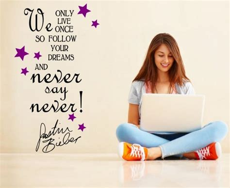 Quotation Wall Stickers never say never justin bieber quote girls teenager